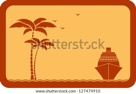 yellow travel background with ship, palm and seagull - stock photo