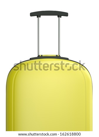 Yellow travel suitcase with handle. 3D rendered illustration. - stock photo
