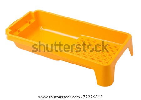 yellow tray for paint isolated - stock photo