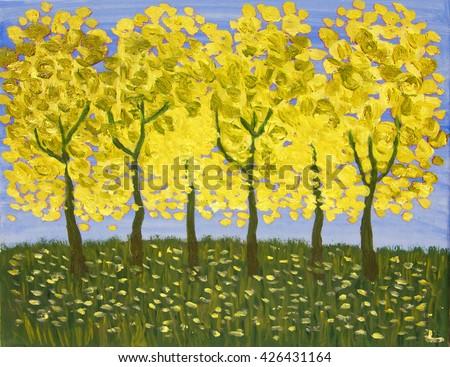 Yellow trees in autumn, oil painting. - stock photo
