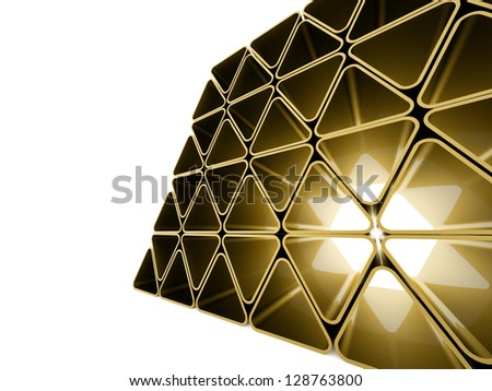 Yellow triangle elements on white background - stock photo