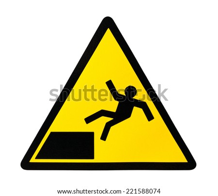 Yellow triangular sign warning for risk of falling - stock photo