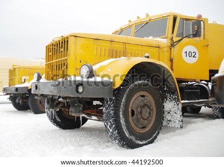 yellow trucks - stock photo
