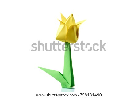 Yellow tulip origami flower traditional model stock photo edit now yellow tulip origami flower traditional model of bulb and leaf simple origami crafting for mightylinksfo