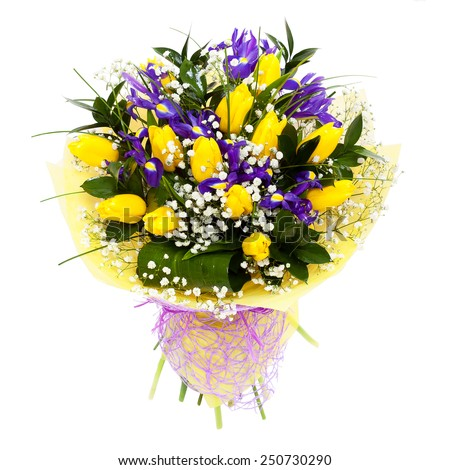 Yellow tulips flower arrangement bouquet. For mother's day, valentine's day or a present for a woman. Isolated on white background - stock photo
