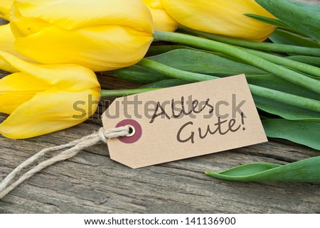 yellow tulips, gorse and label with lettering all the best/tulips/all the best