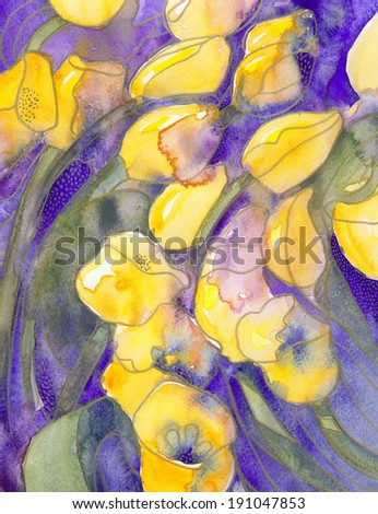 Yellow tulips on purple with gold dots abstract texture watercolor painting