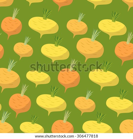 Yellow turnip pattern. Seamless background with turnips.   - stock photo