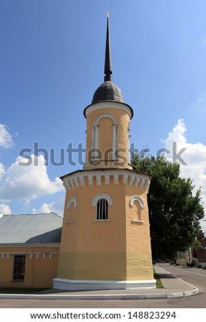 Yellow turret at Kolomna Kremlin in summer, Russia - stock photo
