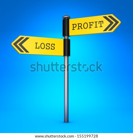 Yellow Two-Way Direction Sign with the Words Profit or Loss on Blue Background. Business Concept of Choice.