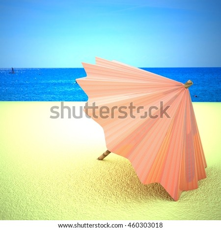 Yellow umbrella over a beach, 3d rendering - stock photo