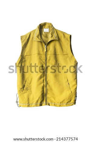 Yellow uniform zipped vest isolated over white - stock photo