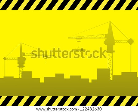 yellow urban construction background with crane and city landscape - stock photo
