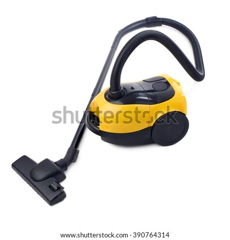 Yellow Vacuum cleaner over isolated white background - stock photo
