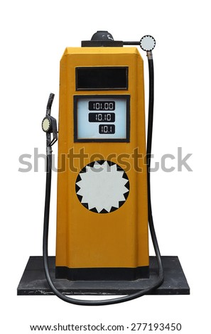 yellow vintage fuel pump isolated on white background - stock photo