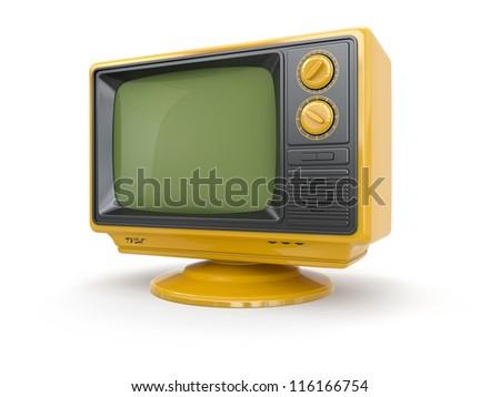 Yellow vintage retro tv on white background. 3d - stock photo