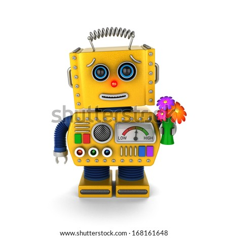 Yellow vintage toy robot with a flower bouquet sending a get well wish over white background - stock photo