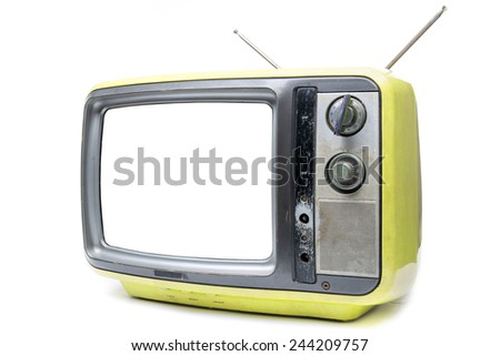 Yellow Vintage TV on the isolated white background