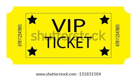 Yellow VIP Ticket - stock photo