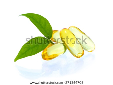 yellow vitamin omega3 fish oil capsule on white background
