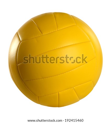 Yellow volleyball isolated over white background- With clipping path - stock photo