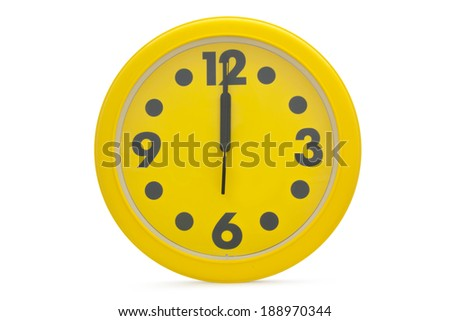 Yellow wall clock  on a white background. - stock photo
