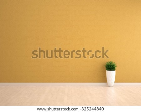 yellow wall interior with plant vase on wood floor - stock photo