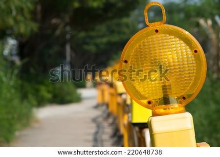 yellow warning light - stock photo