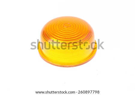 yellow warning light isolated on white  - stock photo