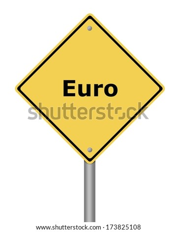 Yellow warning sign on white background with the text euro - stock photo