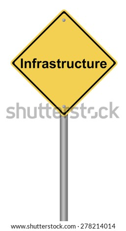 Yellow warning sign with the writing Infrastructure on white background. - stock photo