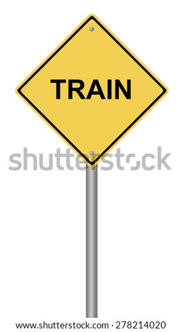 Yellow warning sign with the writing TRAIN on white background. - stock photo
