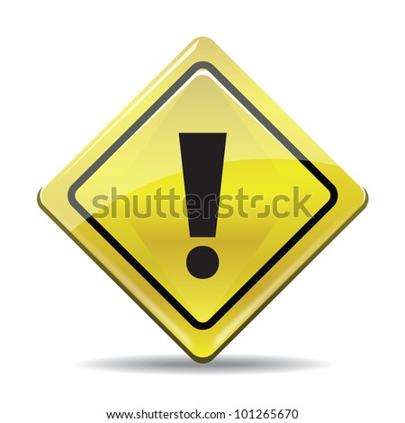 Yellow warning symbol with black sign isolated on white background. Stylized icon. - stock photo