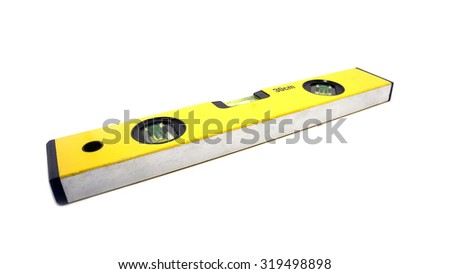 Yellow water level on isolated - stock photo