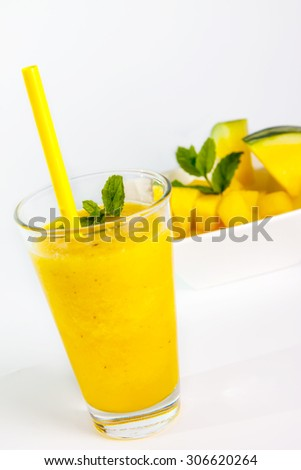 yellow water melone smoothie - stock photo