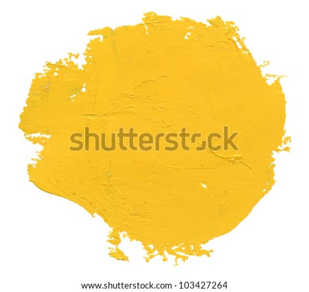 Yellow watercolor blob, isolated on white - stock photo
