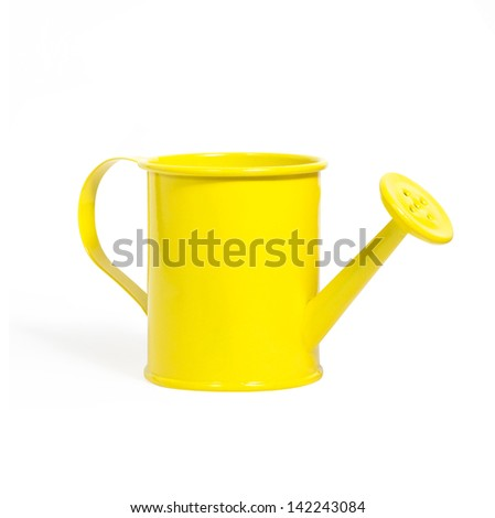 yellow watering can isolated on a white background - stock photo