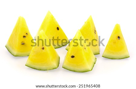 yellow watermelon isolated on white background - stock photo