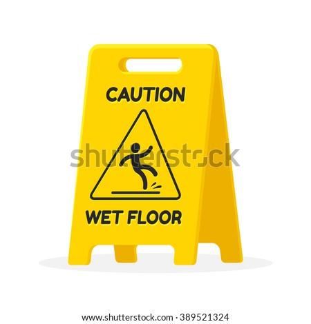 Yellow wet floor sign isolated illustration. - stock photo