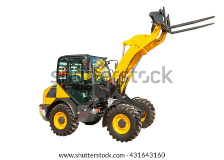 Yellow wheel loader machinery construction equipment isolated on white - stock photo