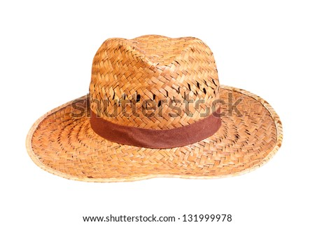 yellow wicker straw hat isolated on white background With Clipping Path.