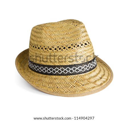 yellow wicker straw hat on white background with soft shadow