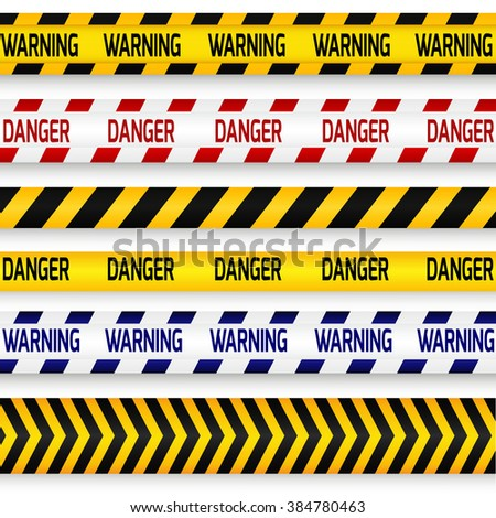 Yellow with black, red with white and blue with white police line, security warning, danger tapes set with text Warning and Danger. For web, criminal and law design.