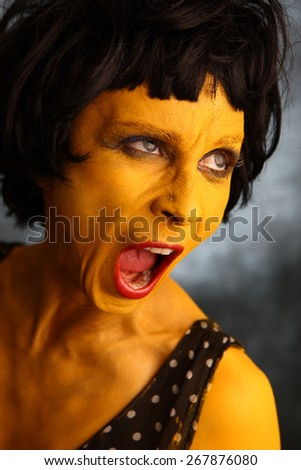 Yellow woman shouting