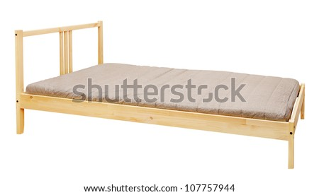 yellow wooden bed isolated on white background - stock photo