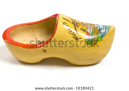 yellow wooden shoes from the netherlands - stock photo