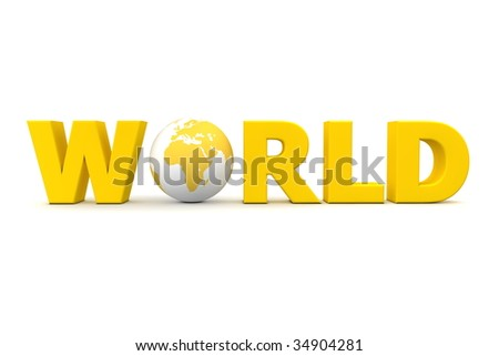 yellow word World with 3D globe replacing letter O