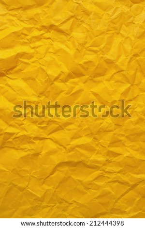 Yellow wrinkled paper  - stock photo