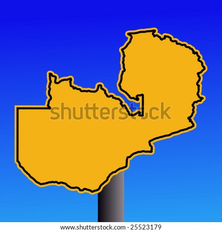 yellow Zambia map warning sign on blue illustration JPEG