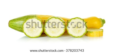 Yellow zucchini isolated on the white background.